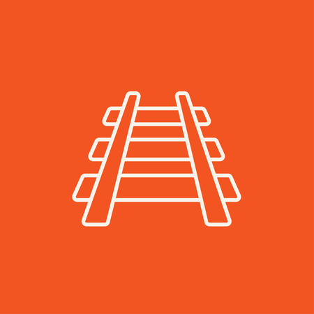 railway track: Railway track line icon for web, mobile and infographics. Vector white icon isolated on red background.