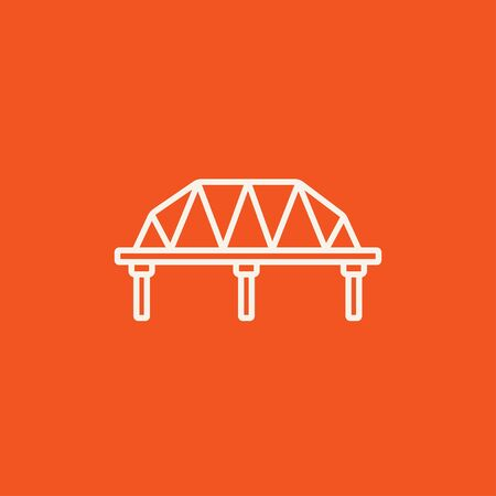 Rail way bridge line icon for web, mobile and infographics. Vector white icon isolated on red background.