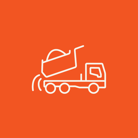to unload: Dump truck line icon for web, mobile and infographics. Vector white icon isolated on red background.
