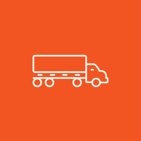 Delivery truck line icon for web, mobile and infographics. Vector white icon isolated on red background. Illusztráció