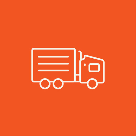 waggon: Delivery truck line icon for web, mobile and infographics. Vector white icon isolated on red background. Illustration