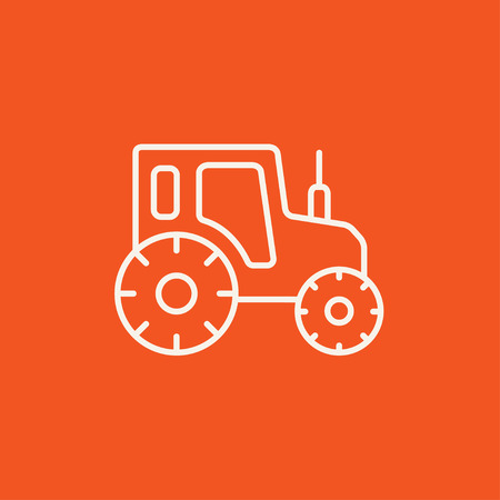 agrarian: Tractor line icon for web, mobile and infographics. Vector white icon isolated on red background. Illustration