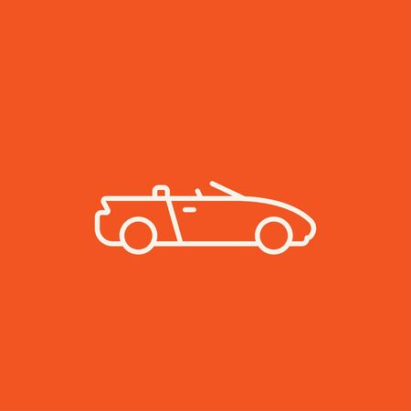 convertible car: Convertible car line icon for web, mobile and infographics. Vector white icon isolated on red background. Illustration