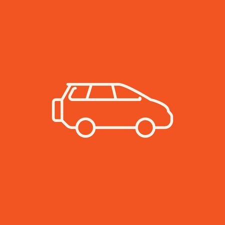 minivan: Minivan line icon for web, mobile and infographics. Vector white icon isolated on red background.