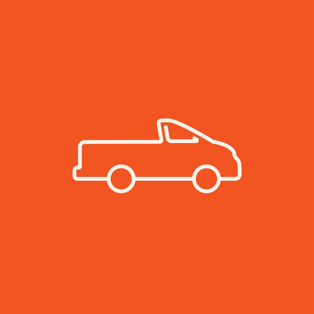 Pick up truck line icon for web, mobile and infographics. Vector white icon isolated on red background.