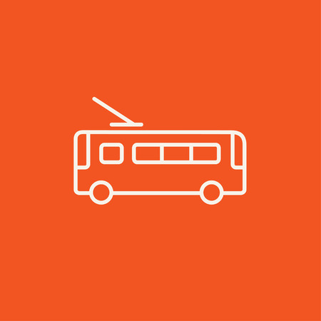 trolleybus: Trolleybus  line icon for web, mobile and infographics. Vector white icon isolated on red background.