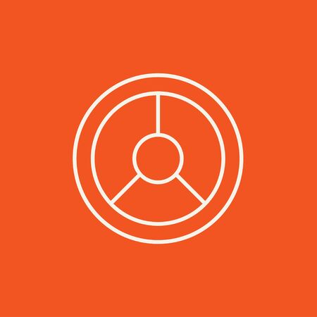 Steering wheel line icon for web, mobile and infographics. Vector white icon isolated on red background.