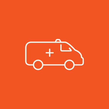 minimal: Ambulance car line icon for web, mobile and infographics. Vector white icon isolated on red background.