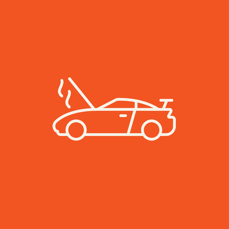 overheat: Broken car with open hood line icon for web, mobile and infographics. Vector white icon isolated on red background.