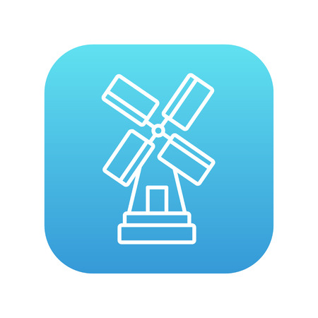 agro: Windmill line icon for web, mobile and infographics. Vector white icon on the blue gradient square with rounded corners isolated on white background. Illustration