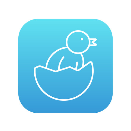 thin shell: Chick peeking out of an egg shell line icon for web, mobile and infographics. Vector white icon on the blue gradient square with rounded corners isolated on white background.