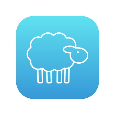 Sheep line icon for web, mobile and infographics. Vector white icon on the blue gradient square with rounded corners isolated on white background. Illustration