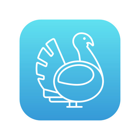 gobbler: Turkey line icon for web, mobile and infographics. Vector white icon on the blue gradient square with rounded corners isolated on white background.