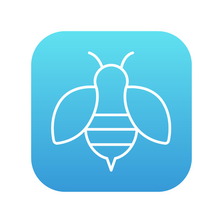 fructose: Bee line icon for web, mobile and infographics. Vector white icon on the blue gradient square with rounded corners isolated on white background. Illustration
