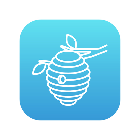 Bee hive line icon for web, mobile and infographics. Vector white icon on the blue gradient square with rounded corners isolated on white background.