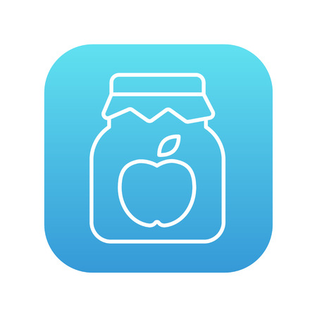 Apple jam jar line icon for web, mobile and infographics. Vector white icon on the blue gradient square with rounded corners isolated on white background.