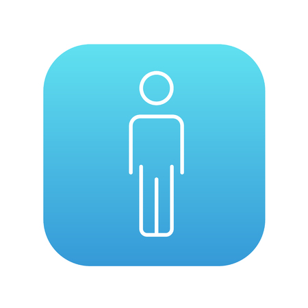 fullbody: Businessman standing  line icon for web, mobile and infographics. Vector white icon on the blue gradient square with rounded corners isolated on white background. Illustration