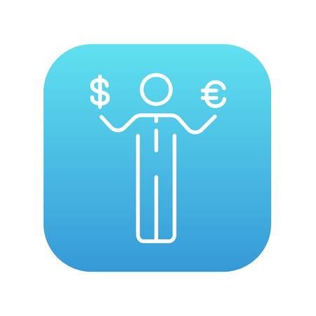 Businessman holding Euro and US dollar symbol line icon for web, mobile and infographics. Vector white icon on the blue gradient square with rounded corners isolated on white background. Stock Illustratie