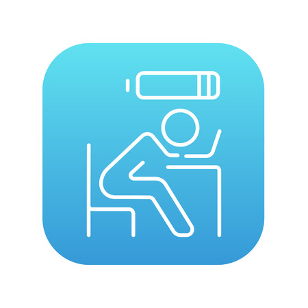 power failure: Tired employee sleeping on workplace on laptop keyboard with low power battery sign over his head line icon for web, mobile and infographics. Vector white icon on the blue gradient square with rounded corners isolated on white background.