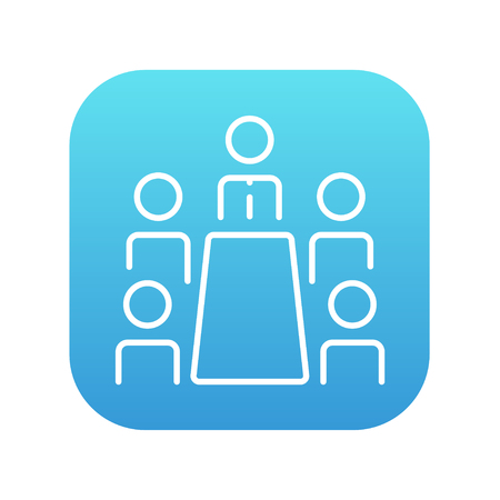 Business meeting in the office line icon for web, mobile and infographics. Vector white icon on the blue gradient square with rounded corners isolated on white background.