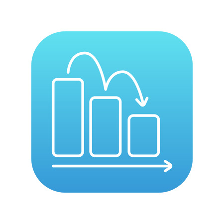 descending: Bar chart going down line icon for web, mobile and infographics. Vector white icon on the blue gradient square with rounded corners isolated on white background.