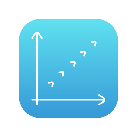 Growth graph line icon for web, mobile and infographics. Vector white icon on the blue gradient square with rounded corners isolated on white background.