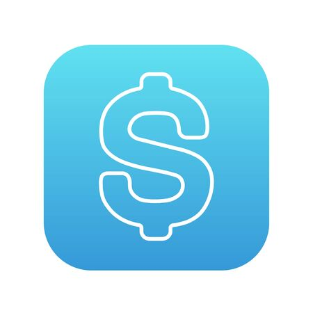price gain: Dollar symbol line icon for web, mobile and infographics. Vector white icon on the blue gradient square with rounded corners isolated on white background.