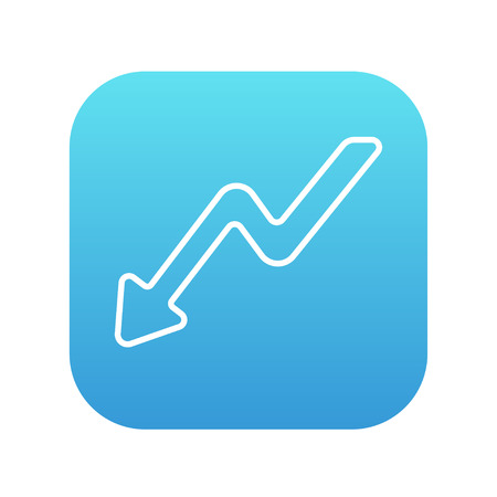 downward: Arrow downward line icon for web, mobile and infographics. Vector white icon on the blue gradient square with rounded corners isolated on white background.