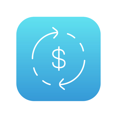 refresh rate: Dollar symbol with arrows around line icon for web, mobile and infographics. Vector white icon on the blue gradient square with rounded corners isolated on white background.