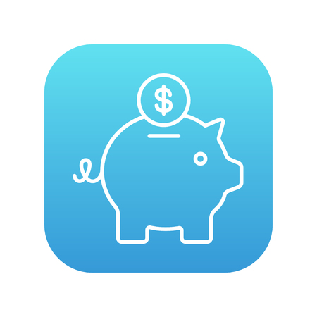 Piggy bank with dollar coin line icon for web, mobile and infographics. Vector white icon on the blue gradient square with rounded corners isolated on white background. Иллюстрация