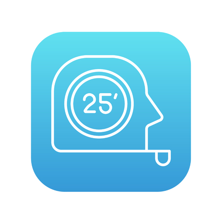 square tape: Tape measure line icon for web, mobile and infographics. Vector white icon on the blue gradient square with rounded corners isolated on white background.