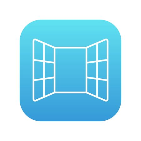 Open windows line icon for web, mobile and infographics. Vector white icon on the blue gradient square with rounded corners isolated on white background. Vettoriali