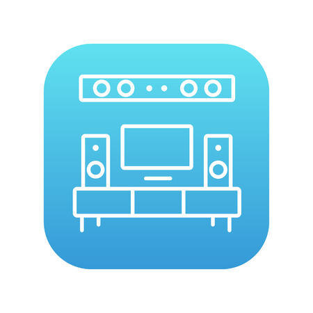 home theater: TV flat screen and home theater line icon for web, mobile and infographics. Vector white icon on the blue gradient square with rounded corners isolated on white background.