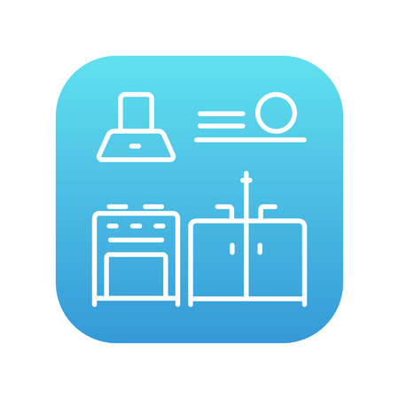 blue white kitchen: Kitchen interior line icon for web, mobile and infographics. Vector white icon on the blue gradient square with rounded corners isolated on white background. Illustration