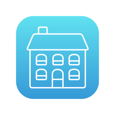 two storey: Two storey detached house line icon for web, mobile and infographics. Vector white icon on the blue gradient square with rounded corners isolated on white background.