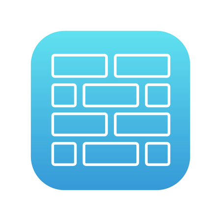 Brickwall line icon for web, mobile and infographics. Vector white icon on the blue gradient square with rounded corners isolated on white background.