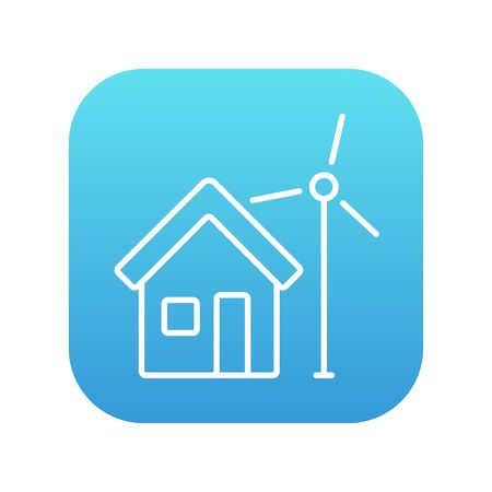 House with windmill line icon for web, mobile and infographics. Vector white icon on the blue gradient square with rounded corners isolated on white background. Ilustrace