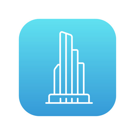 multi storey: Skyscraper office building line icon for web, mobile and infographics. Vector white icon on the blue gradient square with rounded corners isolated on white background. Illustration