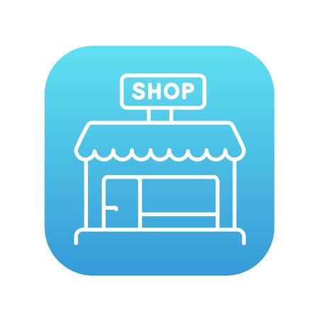 Shop-Store-Linie-Symbol für Web, Mobile und Infografiken. Vector weiße Ikone auf dem blauen Steigungsquadrat mit den gerundeten Ecken, die auf weißem Hintergrund lokalisiert werden. Standard-Bild - 49689550
