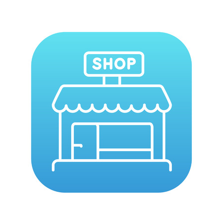 Shop store line icon for web, mobile and infographics. Vector white icon on the blue gradient square with rounded corners isolated on white background. Illustration