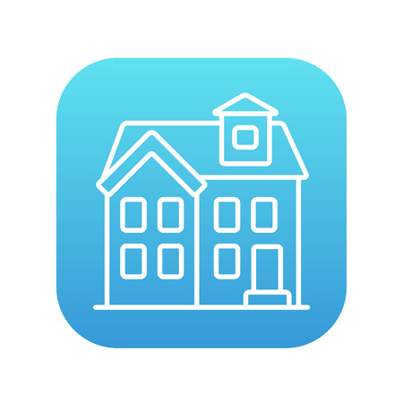 detached: Two storey detached house line icon for web, mobile and infographics. Vector white icon on the blue gradient square with rounded corners isolated on white background.