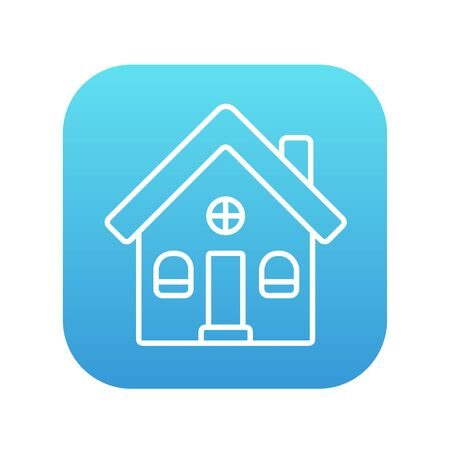 housing project: Detached house line icon for web, mobile and infographics. Vector white icon on the blue gradient square with rounded corners isolated on white background.