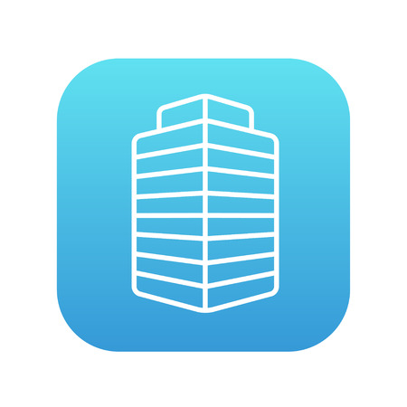 multi storey: Office building line icon for web, mobile and infographics. Vector white icon on the blue gradient square with rounded corners isolated on white background.