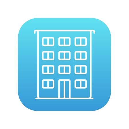 housing project: Residential building line icon for web, mobile and infographics. Vector white icon on the blue gradient square with rounded corners isolated on white background. Illustration