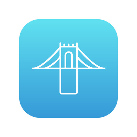 Bridge line icon for web, mobile and infographics. Vector white icon on the blue gradient square with rounded corners isolated on white background.