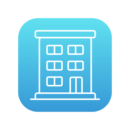 cemented: Residential buildings line icon for web, mobile and infographics. Vector white icon on the blue gradient square with rounded corners isolated on white background. Illustration