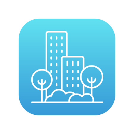 multi storey: Residential building with trees line icon for web, mobile and infographics. Vector white icon on the blue gradient square with rounded corners isolated on white background. Illustration