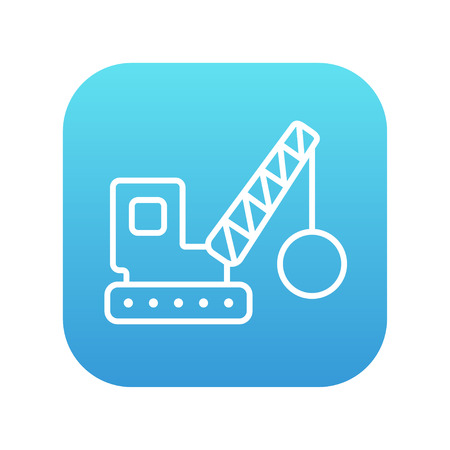 raze: Demolition trailer line icon for web, mobile and infographics. Vector white icon on the blue gradient square with rounded corners isolated on white background.