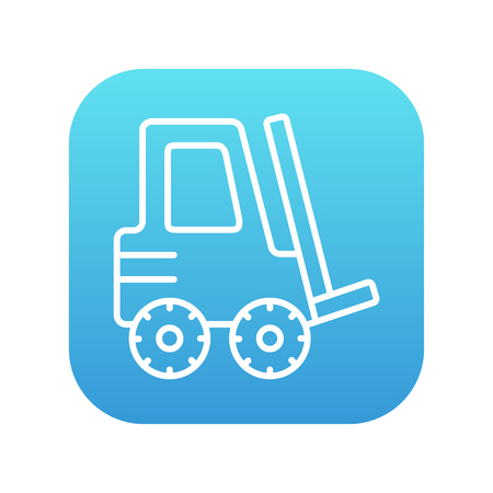 distribution picking up: Forklift line icon for web, mobile and infographics. Vector white icon on the blue gradient square with rounded corners isolated on white background. Illustration