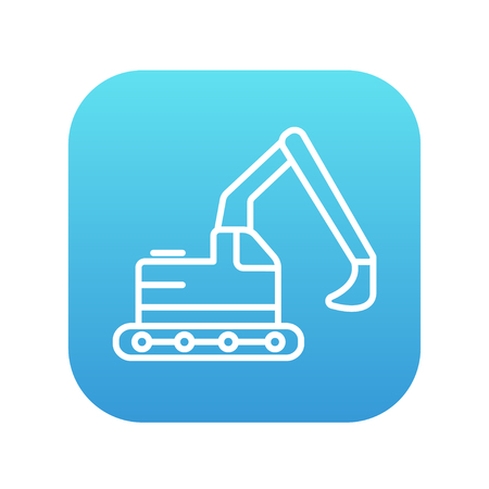 dig up: Excavator line icon for web, mobile and infographics. Vector white icon on the blue gradient square with rounded corners isolated on white background. Illustration